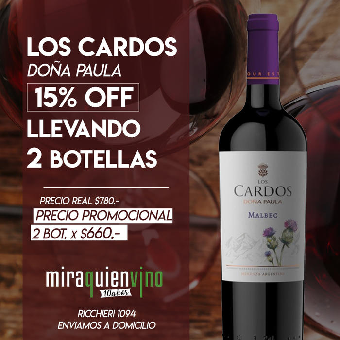 2 Botellas de Los Cardos Malbec - 15OFF